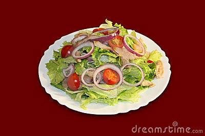 Salad with fresh lettuce leaves
