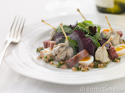Salad of Frog Legs Lardons and Quail Eggs
