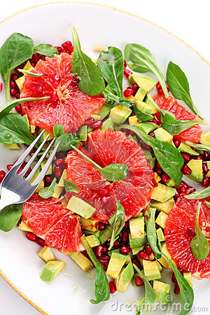 Salad with grapefruit and avocado