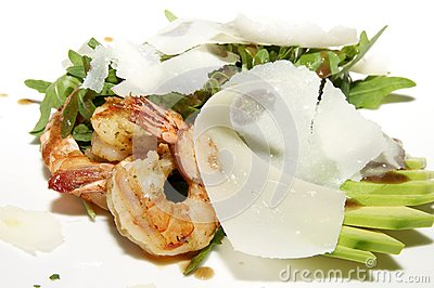 Salad greens and shrimp