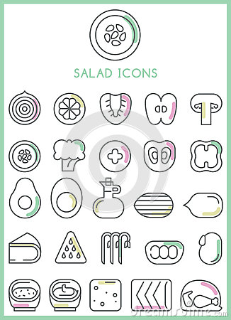 Free Salad Icons Set  Royalty Free Stock Photo - 56295785