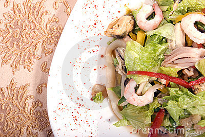 Salad made of seafood