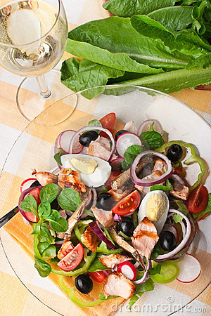 Salad Nicoise with salmon