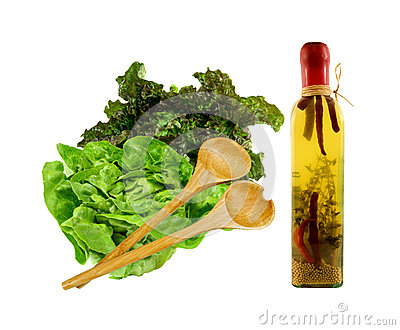 Salad with olive oil and serving set