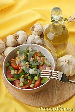 salad with organic tomato and onion