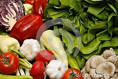 Salad, pepper, tomato, garlic