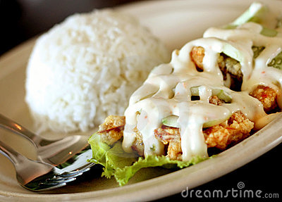 Salad prawn rice
