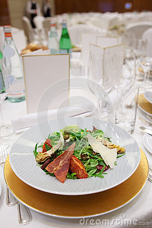 Salad on restaurant table
