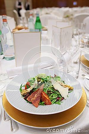 Salad on restaurant table