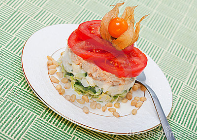 Salad of salmon with  tomatoes and Physalis