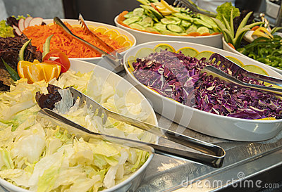 Salad selection at restaurant buffet