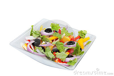 Salad of sweet peppers, lettuce and onions