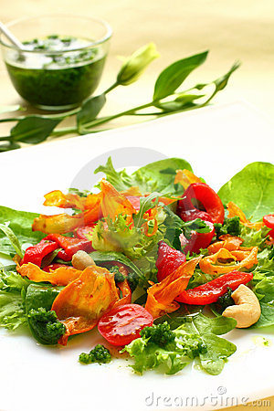 Salad with sweet potato ,pepper and tomato