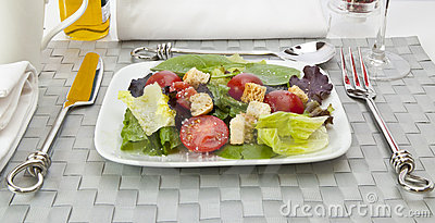 Salad with table setting