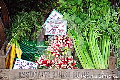 Salad vegetables in box.