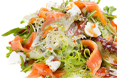 Salad with vegetables,fish and cheese.