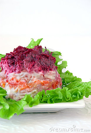 Salad with vegetables and herring