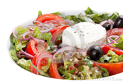Salad with vegetables, olives and cheese