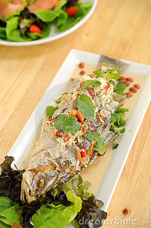 Free Salad With Deep Fried Fish Stock Photography - 21563842
