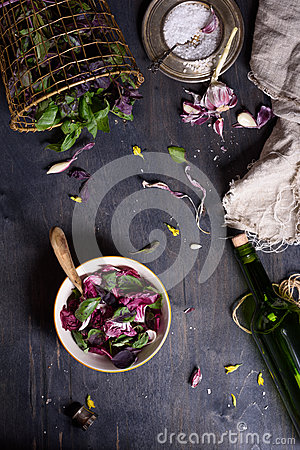 Free Salad With Fresh Summer Greens And Herbs On Rustic Wooden Table. View From Above, Free Text Space. Royalty Free Stock Photo - 71581745