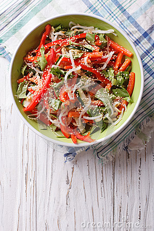 Free Salad With Sprouts, Peppers And Sesame. Vertical Top View Stock Photo - 58489380