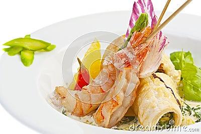 Salada com camarão