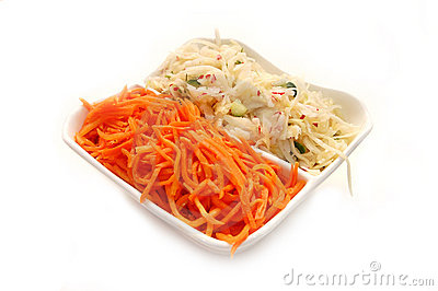 Salads from cabbage and carrots