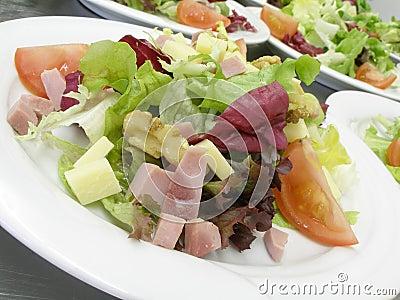 Salads with ham