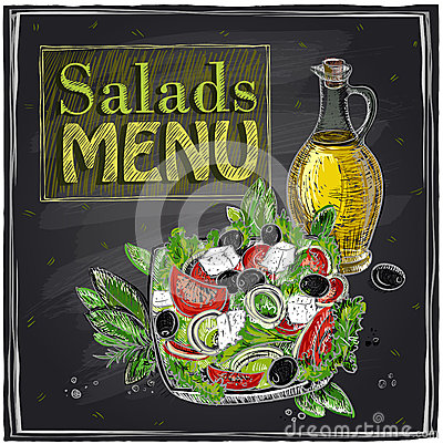 Salads menu chalkboard design. Vector Illustration