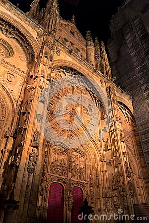 Salamanca Cathedral Facade at Night