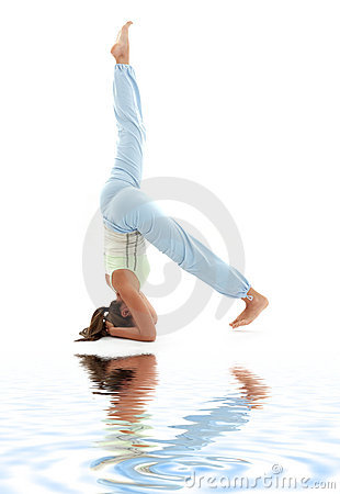 Salamba sirsasana supported headstand on white san