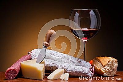 Salami, cheese and wine