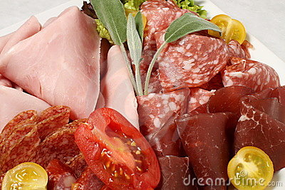 Salami, ham and bacon detail