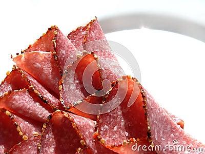 Salami  on plate