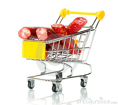 Salami sausage in the shopping cart