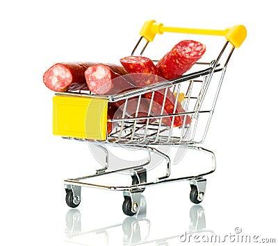 Salami sausage in the shopping cart
