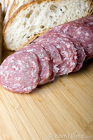 Salami sausage sliced with bread for sandwich