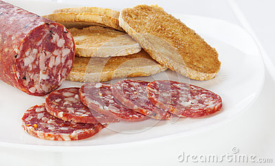 Salami and Toast on Plate