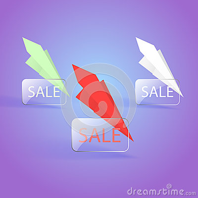 Sale banner designs with paper planes