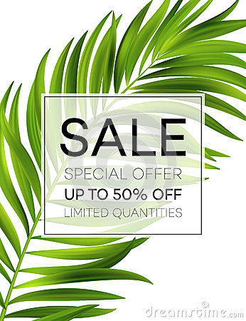 Free Sale Banner Or Poster With Palm Leaves And Jungle Leaf. Floral Tropical Summer Background. Vector Illustration Stock Photography - 91192222