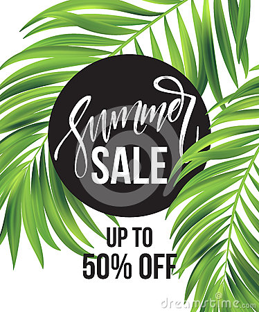 Free Sale Banner, Poster With Palm Leaves, Jungle Leaf And Handwriting Lettering. Floral Tropical Summer Background. Vector Royalty Free Stock Image - 91164236