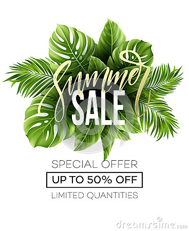 Free Sale Banner, Poster With Palm Leaves, Jungle Leaf And Handwriting Lettering. Floral Tropical Summer Background. Vector Stock Image - 91190881