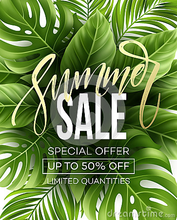 Free Sale Banner, Poster With Palm Leaves, Jungle Leaf And Handwriting Lettering. Floral Tropical Summer Background. Vector Stock Photo - 91191570