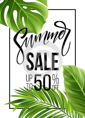 Free Sale Banner, Poster With Palm Leaves, Jungle Leaf And Handwriting Lettering. Floral Tropical Summer Background. Vector Royalty Free Stock Photography - 91684037