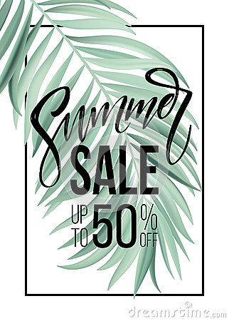 Free Sale Banner, Poster With Palm Leaves, Jungle Leaf And Handwriting Lettering. Floral Tropical Summer Background. Vector Royalty Free Stock Photo - 91684565