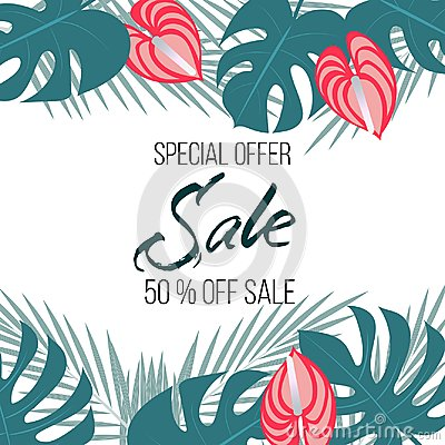 Free Sale Banner, Poster With Palm Leaves, Jungle Leaf And Moister Flowers. Beautiful Vector Floral Tropical Summer Background, Stock Photos - 108844223