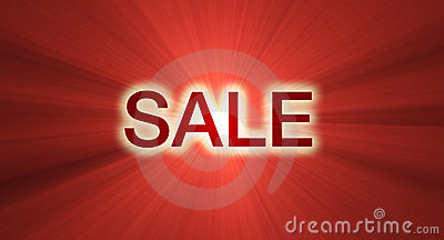 SALE banner red light flare