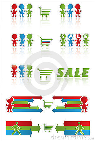 Sale banner with shopping cart and funny peoples
