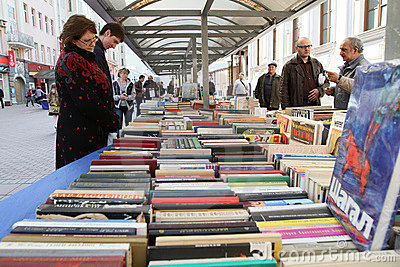 Sale of books in the center of Moscow Editorial Photography