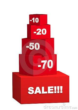 Free Sale - Boxes With The Goods For Reduced Prices Royalty Free Stock Image - 4686086